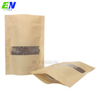 100% Eco-friendly Material Certified PLA Compostable Kraft Paper Bag with zipper for biodegradable packaging