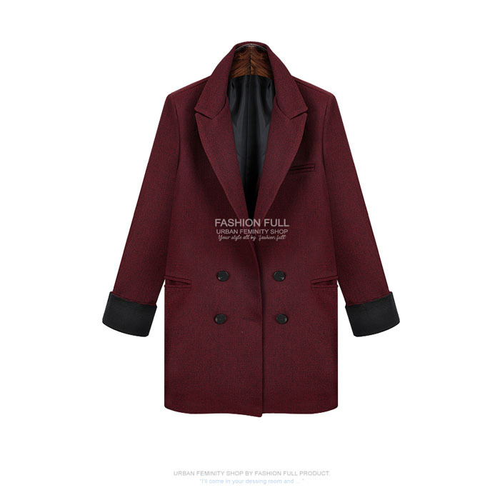 Wool&Blends High-End European S-XL Turndown collar Double Breasted Red Wine Spring Medium Length For Womens Woolen Coat Female