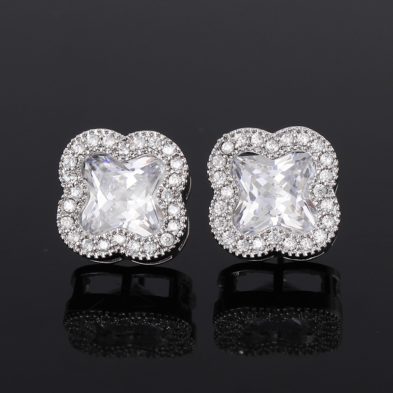 2016 Fashion Silver Wedding Jewelry White Gold Platinum Plated CZ Flower Good Luck Four Leaf Clover Pave Stud Earrings