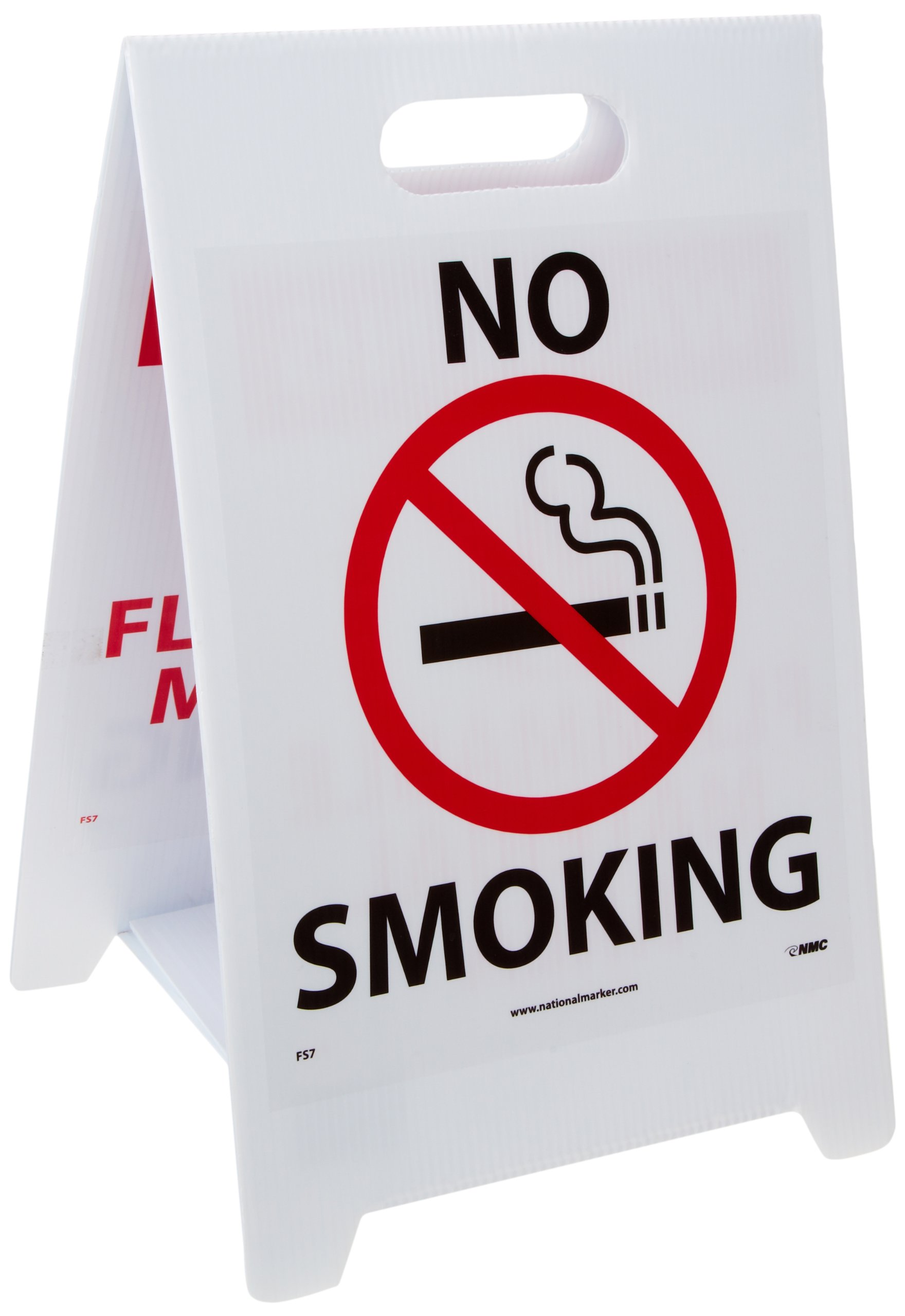 """NMC FS7 Double Sided Floor Sign, Legend """"NO SMOKING WARNING FLAMMABLE MATERIAL AREA"""" with Graphic, 12"""" Length x 20"""" Height, Coroplast, Black/Red on White"""