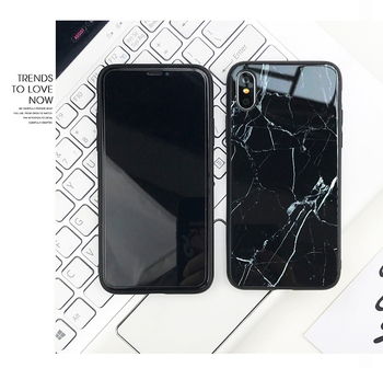 Marble Printing Back Cover Tempered Glass TPU Shell Cell Phone Case For iPhone X