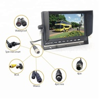 Rear monitor in car 7 inch PAL NTSC Auto with 4 pin cable 12v 24v wide rangle voltage