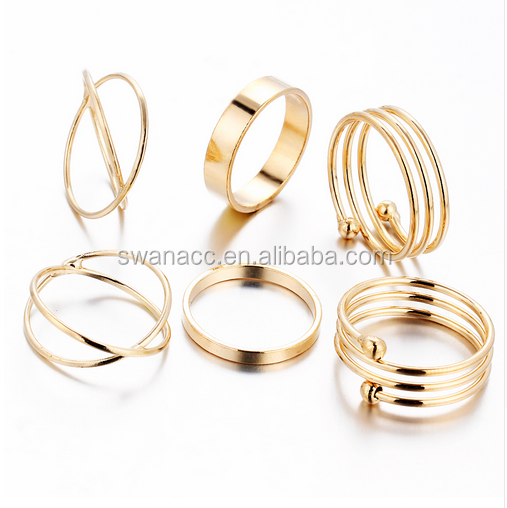 6 PCS Ring Settings Best Selling Punk Gold Filled Knuckle Finger Ring for women