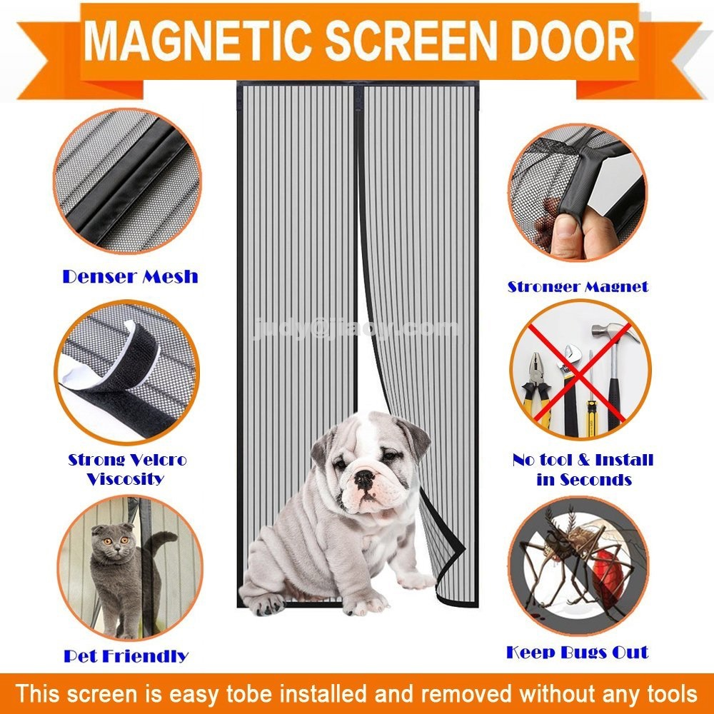 Magnetic curtain door screen hands free Mosquito, Insect and Fly Screen with Magic