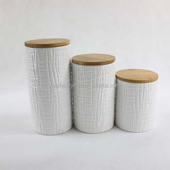 Charmant Ceramic Canister With Bamboo Lids Dolomite Pot Eco Freindly Storage Jar  With Wooden Lid