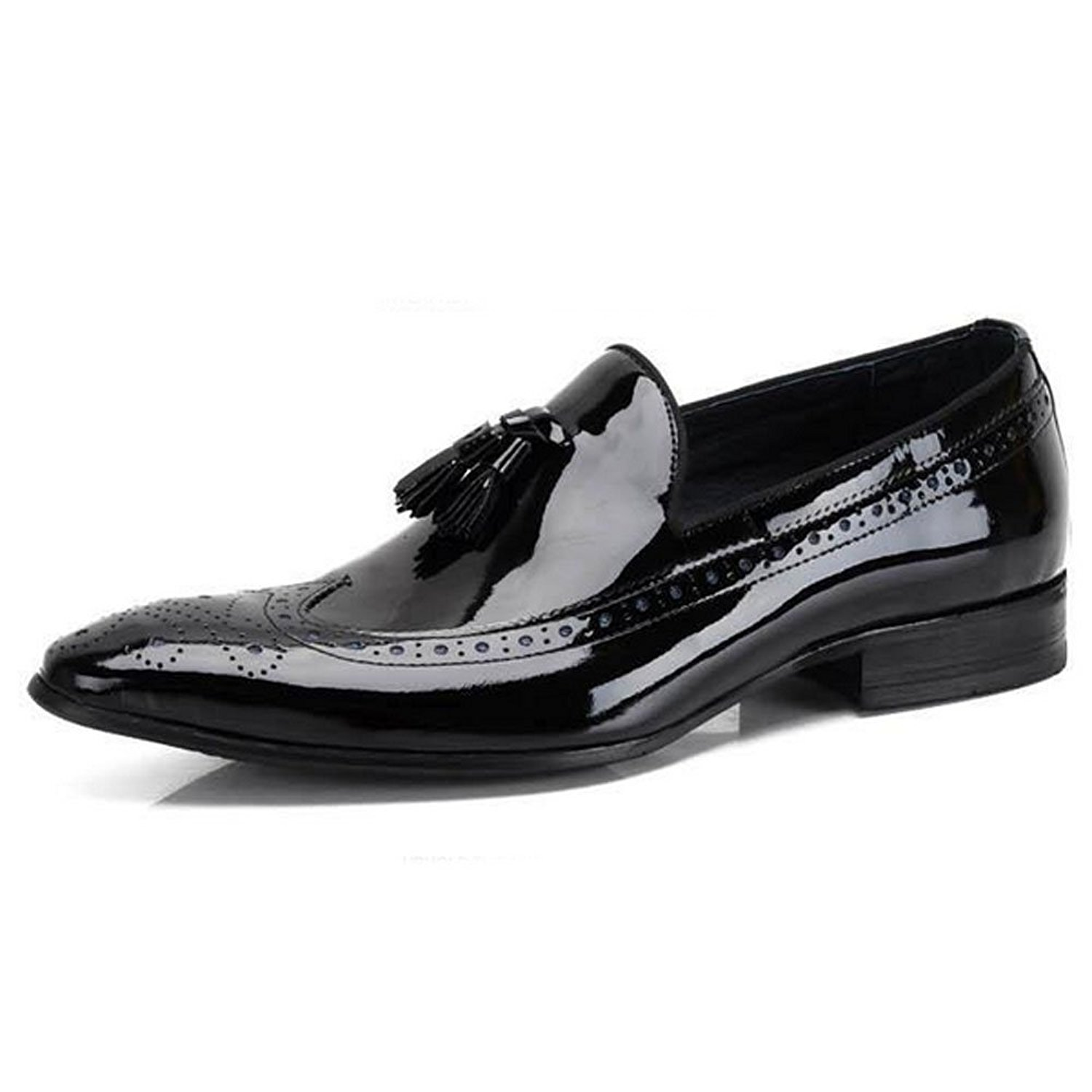 34a84249ad87e Fulinken Leather Mens Tassel Dress Shoes Brogues Slip On Loafers Business Men  Shoes