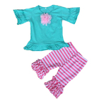 Wholesale baby girls summer clothes clothing set kids online boutique ruffle pants clothes set