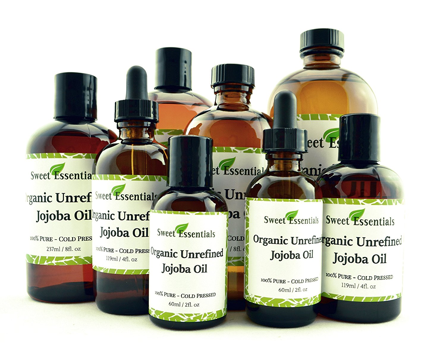 100% Organic Jojoba Oil | Imported From Argentina | Various Sizes | Virgin / Unrefined | Golden | Cold Pressed | 100% Pure | Natural Moisturizer for Skin, Hair and Face | By Sweet Essentials (4 fl oz)