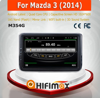 Hifimax Android 4.4.4 car dvd player for Mazda 3 2014 with 4 Core CPU 16G Hard disk HD1024*600 capacitive screen android 4.4.4