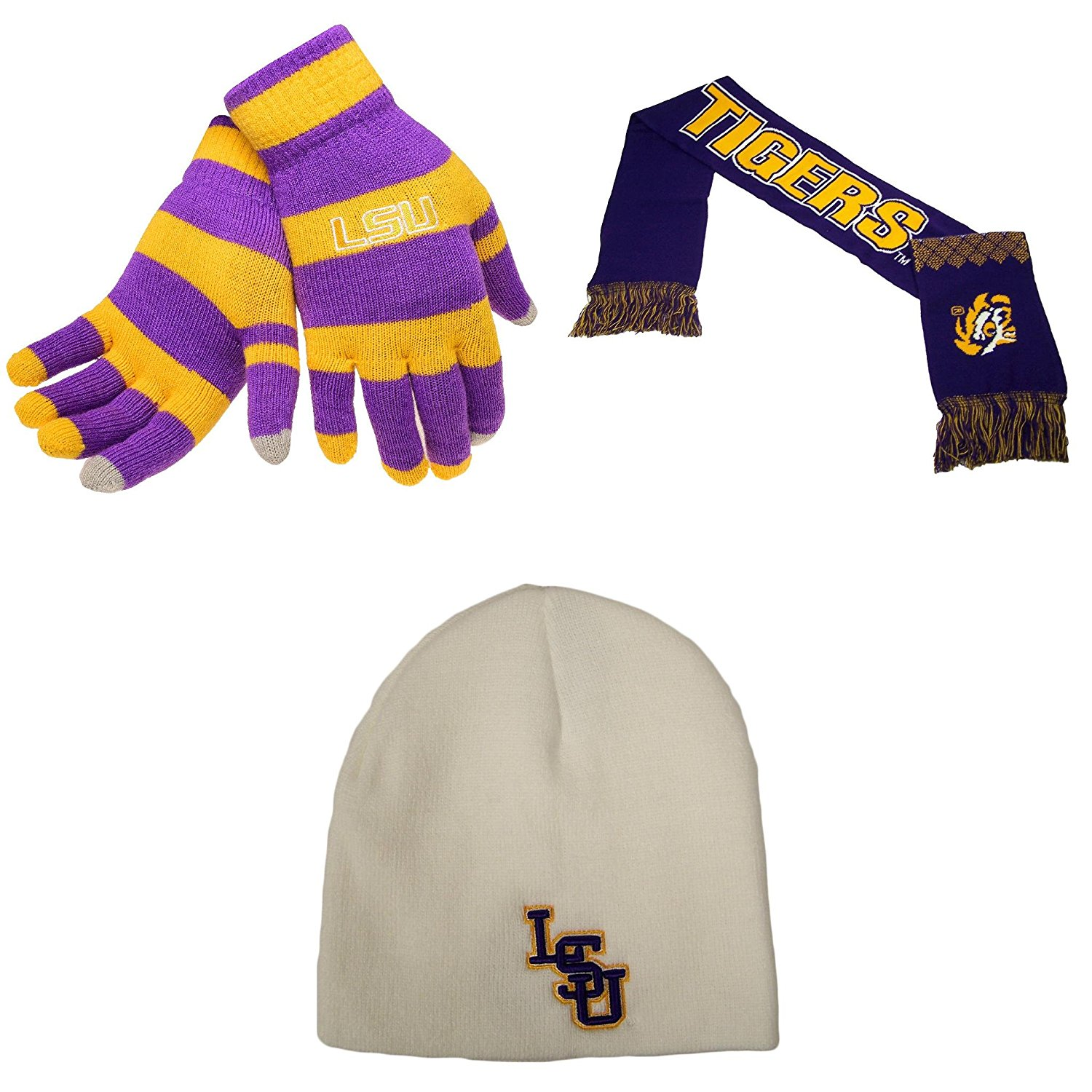 newest 4c341 6b6de Get Quotations · NCAA LSU Tigers Glove Stripe Knit Campus Team Scarf And Ez  Dozit Beanie 3 Pack Bundle