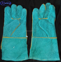 New Arrival Blue Cheap Cow Split Leather Safety Working Long Welding Welder Gloves