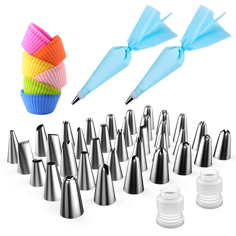 Avorast 64 in 1 Cake Decorating Supplies with 24-Pack Silicone Baking Cups, 36-Piece Stainless Steel Cake Piping Icing Tips, 2-Piece Couplers and 2-Pack Silicone Pastry Bags