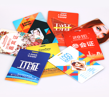 VOGRACE cheap logo custom PVC card promotion plastic gift card with quality printing lanyard holder school/office/ID/work cards