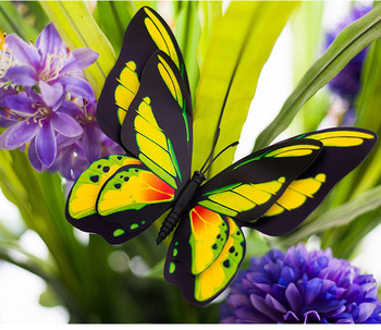 12cm Plastic Artificial Realistic Fake Simulated Manmade Butterfly For Garden  Yard Plant Flower Vase Christmas Decoration