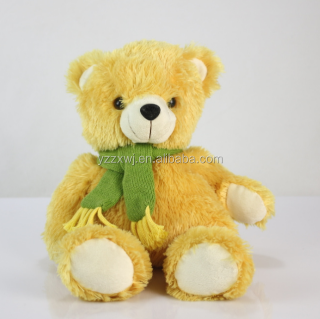 teddy bear animal plush toys yellow stuffed bear toys with scarf personalized soft toy bears