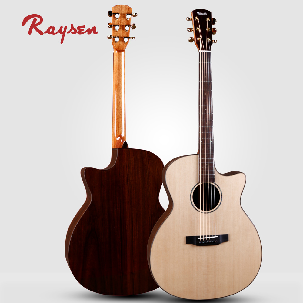Raysen African Ebony Guitar Sitka Spruce Top Handmade Custom Chinese  Acoustic Guitar - Buy Chinese Guitar,Chinese Acoustic Guitar,Chinese Custom