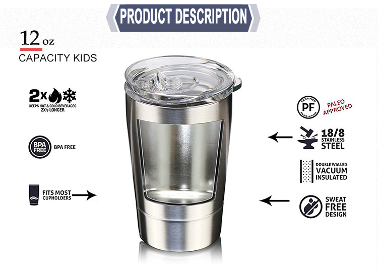 12oz Double Wall Vacuum Stainless Steel Kids Tumbler Insulated Coffee Mug With Lid