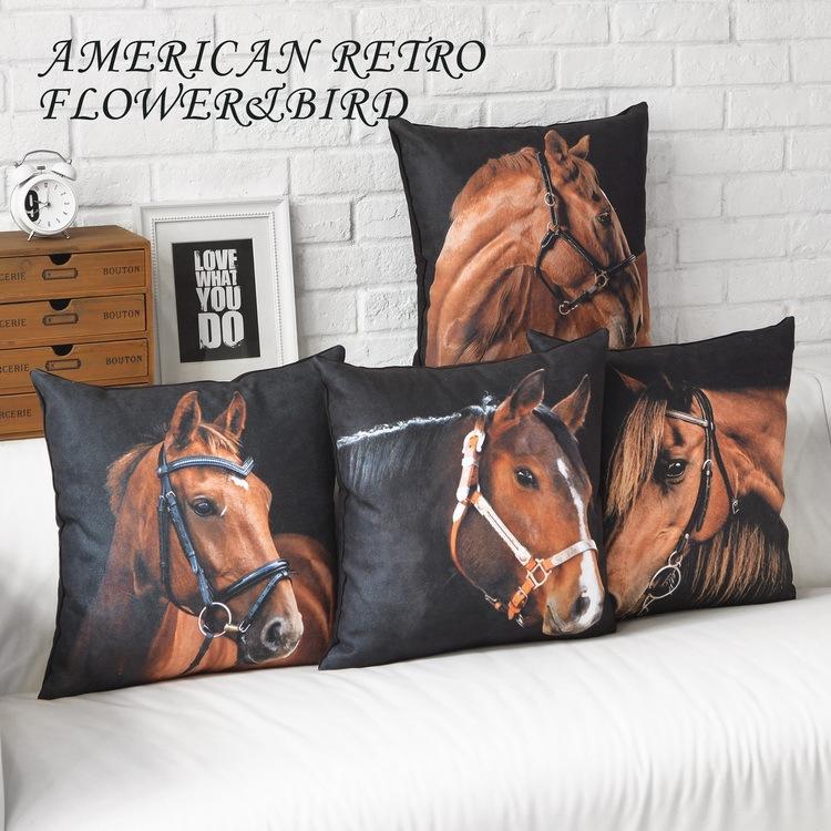 Wholesale Horse modern Cushions Home Decor minimalist black creative Decorative Pillow European American style Cushion Covers