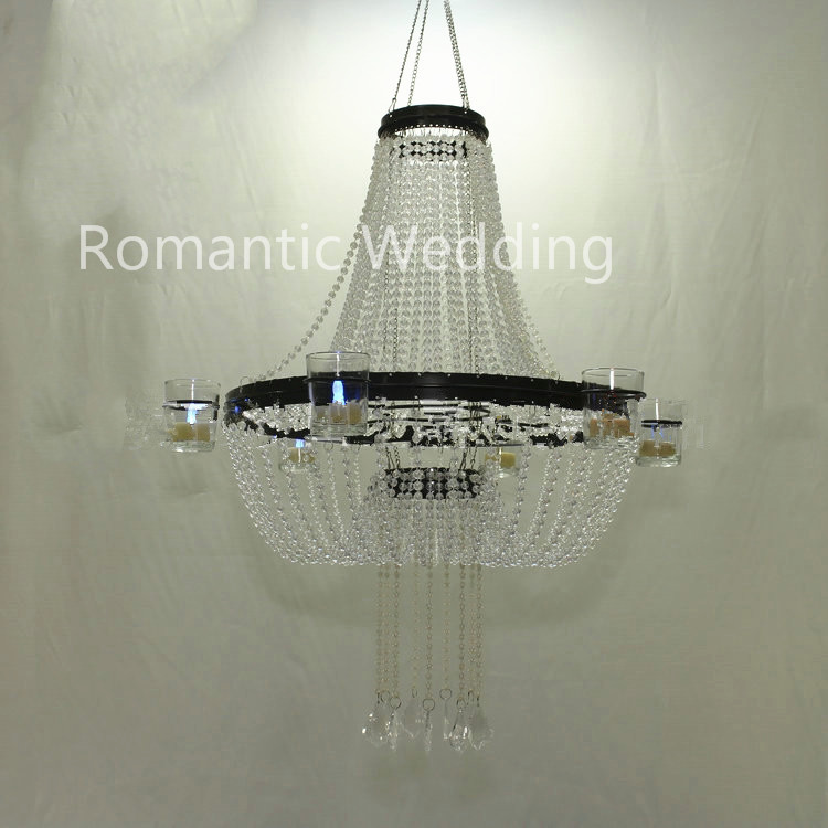 Exquisite acrylic beads hanging chandelier votive candle holder for wedding decoration centerpiece