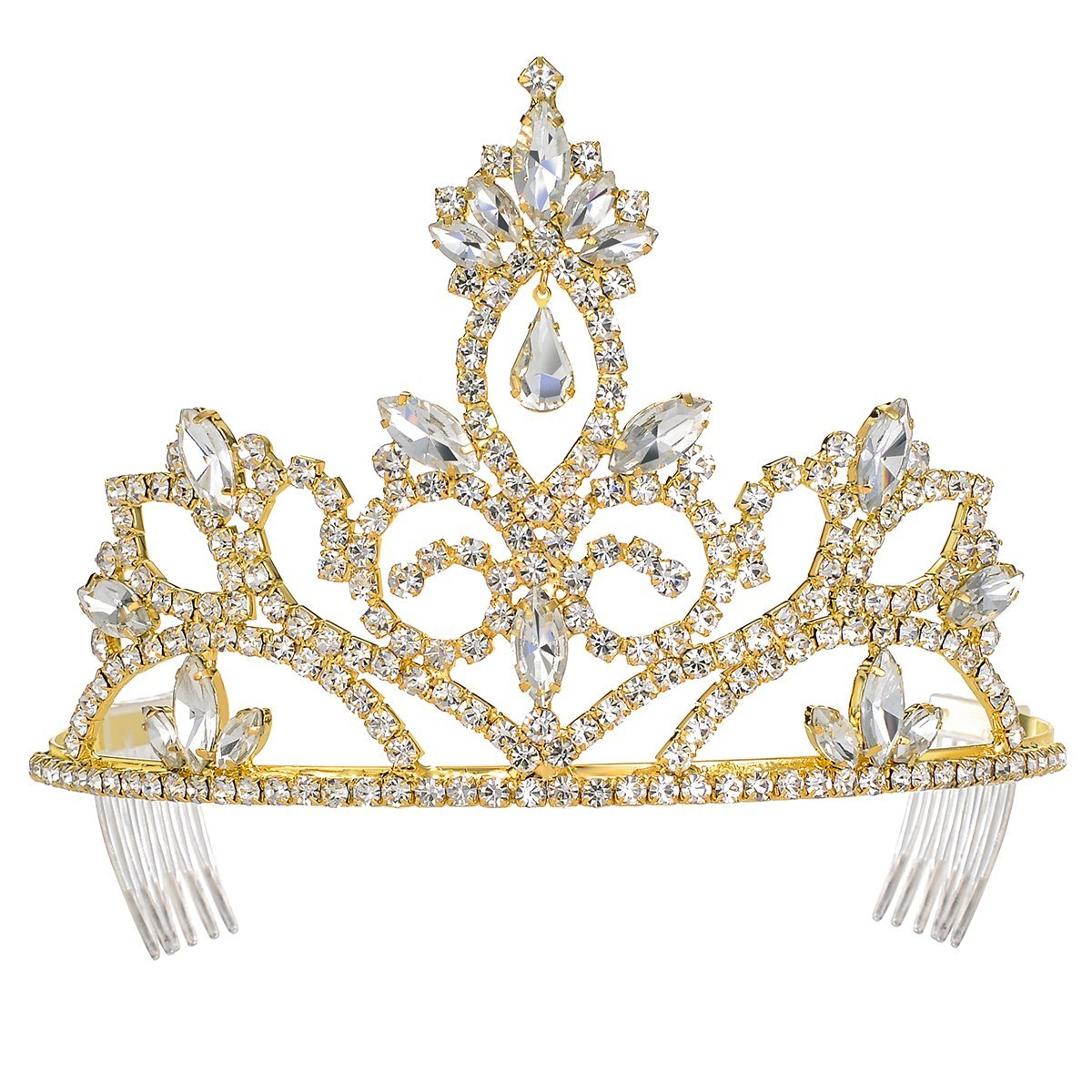 DcZeRong Gold Tiara Crown Prom Crown Gold Pageant Tiaras Gold Rhinestone Tiaras Gold Prom Tiaras
