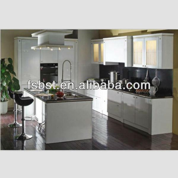 Open keuken meubilair ak103 witte lak keukenkasten pvc laminaat ...