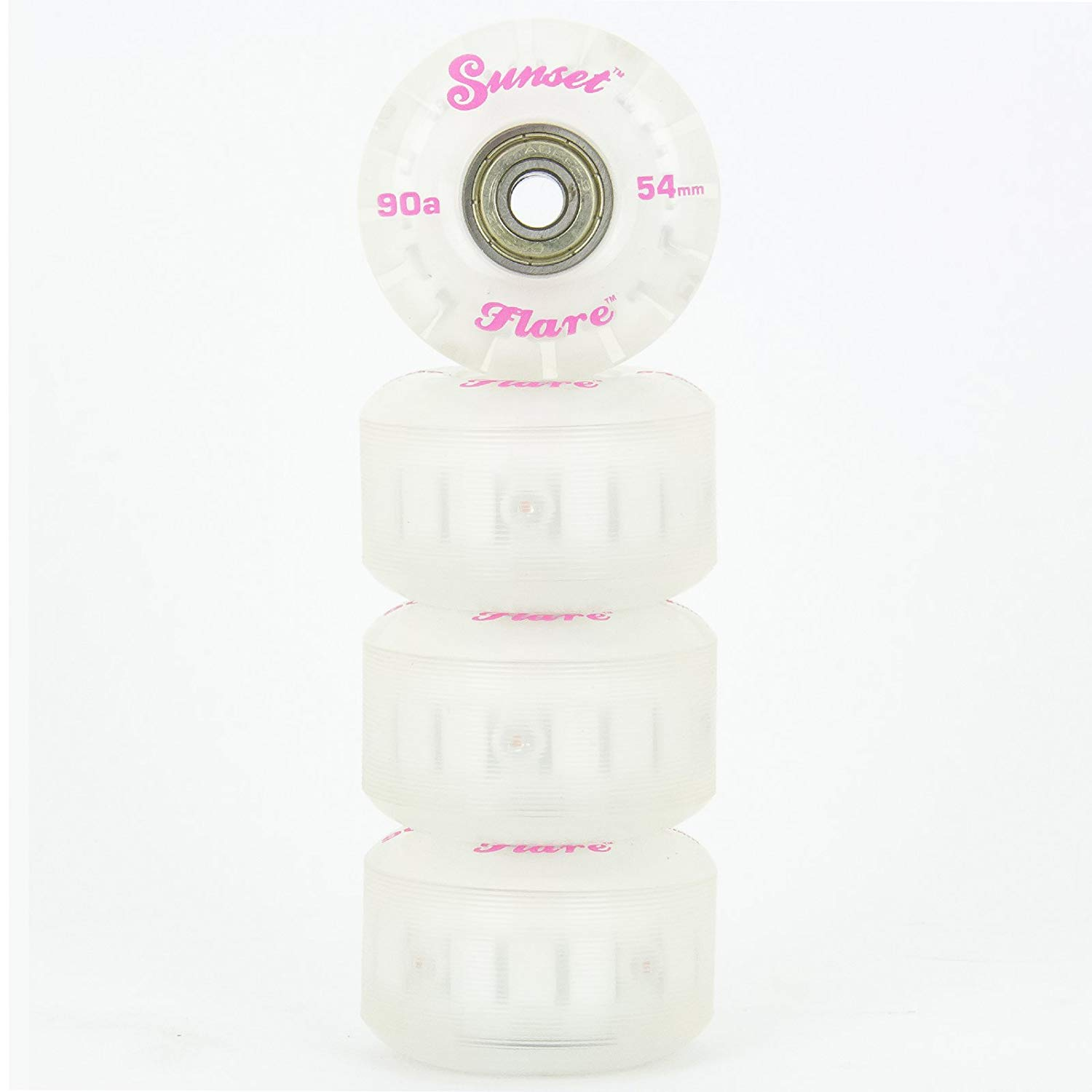 Get Quotations · SUNSET SKATEBOARDS Pink 54mm Street Flare Led Wheel and  ABEC-7 Bearings (4- 48b1083ae4e
