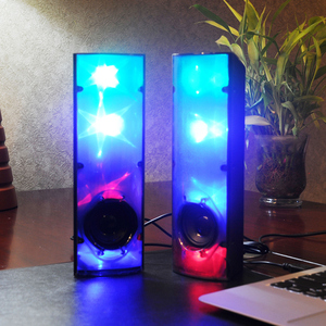 Amazing 3D Stars Music Pulse Light Stereo Speaker LED Flashing lights USB 2.0 Subwoofer Aux-in for Computer/Mobile phone/Laptops