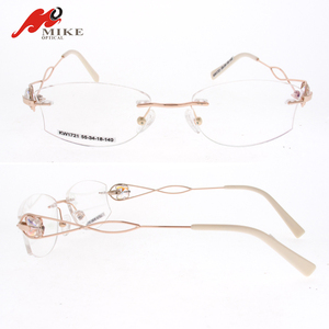 Rimless New Women Optical Frames, Myopia Eyewear Frame With Butterfly Decoration