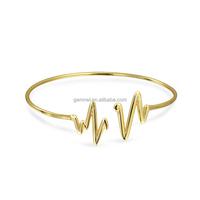 Copper Alloy 14K Gold Filled Modern Heartbeat Bangle Bracelet Men