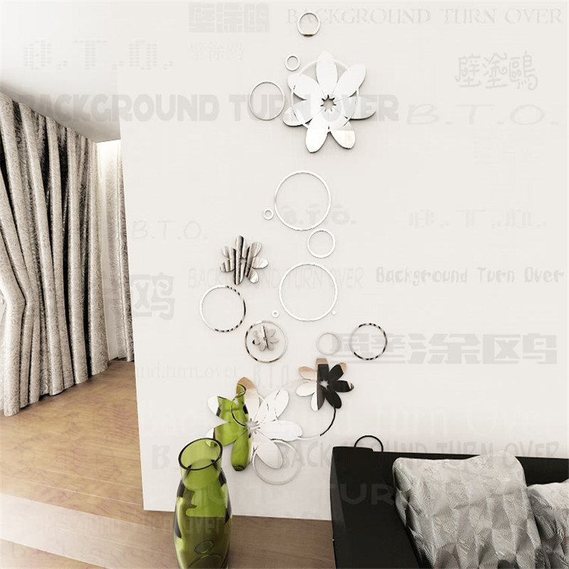 DIY creative fashion spring nature circle flower backdrops 3D mirror wall stickers home decor mirror surface wall sticker