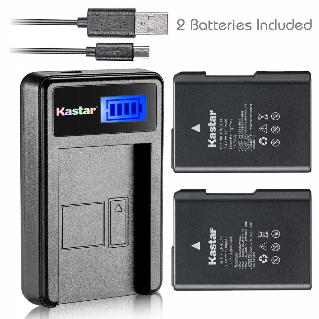 Kastar Battery (X2) & LCD Slim USB Charger for Nikon EN-EL14, EN-EL14a, MH-24 and Nikon Coolpix P7000 P7100 P7700 P7800, D3100, D3200, D3300, D3400, D5100, D5200, D5300 DSLR, Df DSLR, D5600 Camera