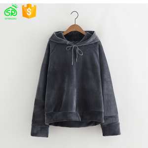 Fashion Blank Deep Blue Color Nylon/Cotton Material Hoodies