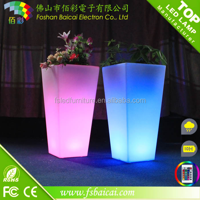 LED pot licht up led bloempot decoratie indoor kleurrijke plastic led light bloempotten