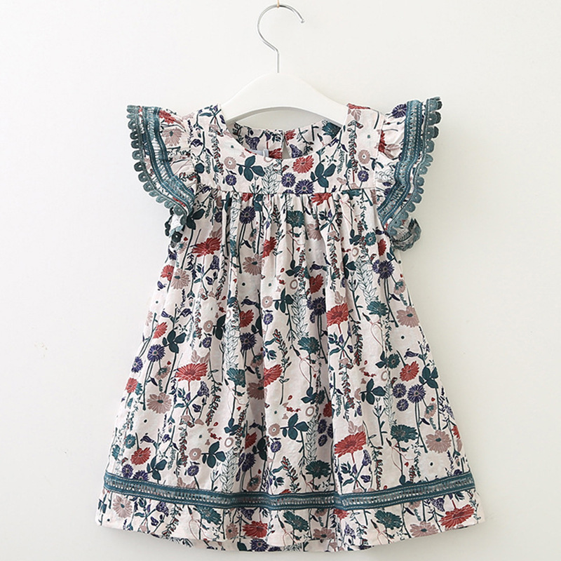 2019 Children's clothing European and American style girl floral flying sleeve dress 2019 new baby cute summer dress