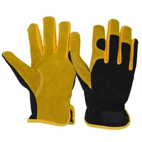 PRI Multi Purpose Flexible Yellow Guantes Cowhide Leather Hand Anti Abrasion Light Industrial Safety Work Gloves in Stock