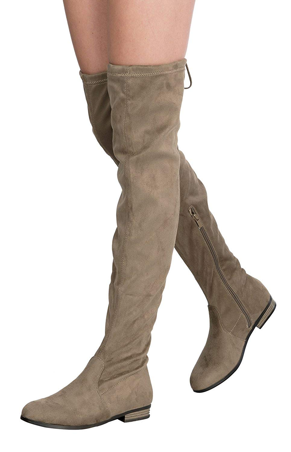 fb1e46df004c Get Quotations · OLIVIA K Women s Sexy Over The Knee Thigh High Faux Suede  Low Heel Boots