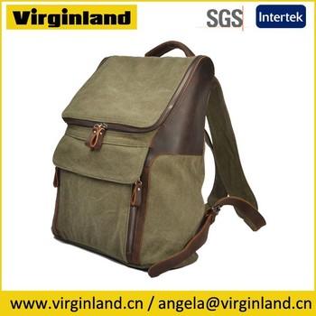 5aa582ca6d 2165 kembali ke sekolah retro klasik hijau tentara kanvas yang modern ransel  kembali tas travel pack. Lihat gambar lebih besar