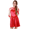 Women A-Line Red Long Sleeve Mini Lace Appliques Party Dress Kids Girl