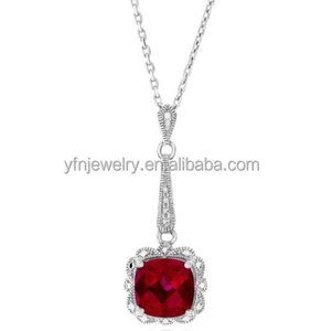 China Manufacturer New Look Pure Silver Garnet Zircon Necklace With Stone
