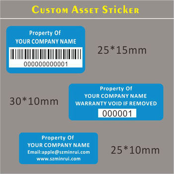 Custom Asset Control Stickers Property Id Tag Labels