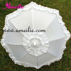 Ruffle Trim Satin Umbrella in Assorted Colors
