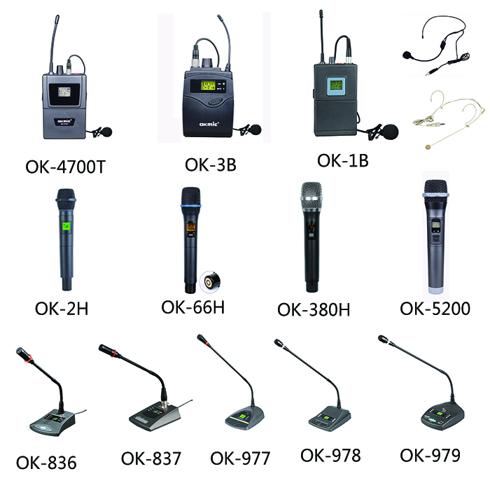 Professional UHF four channels beltpack microphone collar microphone wireless lavalier lapel microphone