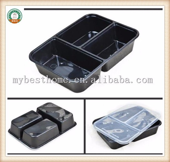 Disposable Plastic Three Compartments Black food container SGS/FDA Appoval Microwave Oven safe