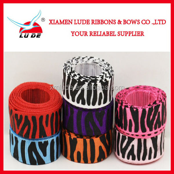 Colorful Zebra Printed Grosgrain Ribbon