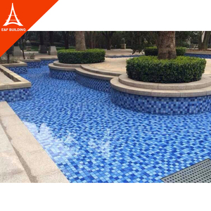 Public hotel swimming pools blue crystal glass mosaic tile