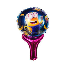 Inflatable helium minions cartoon stick foil balloon