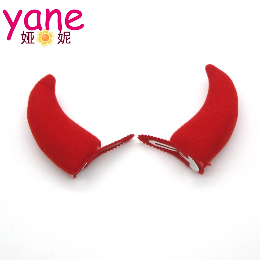 Fashion Red Devil Horn Hair Clips Kids Children Headwear Hairpins For Women Girls Halloween Party Hair Accessories Accessories