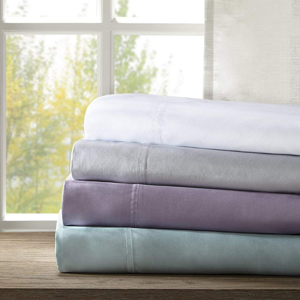 Rayon From Grey Bamboo Sheets King, Casual Bamboo Bed Sheets, 4-Piece Include Flat Sheet, Fitted Sheet And 2 Pillowcases