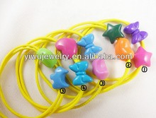 H794-026 elastic plastic bow and heart hair bands kid's hair jewelry