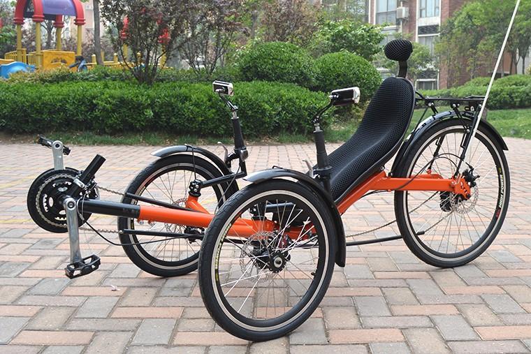 Three wheeled recumbent adult bicycles